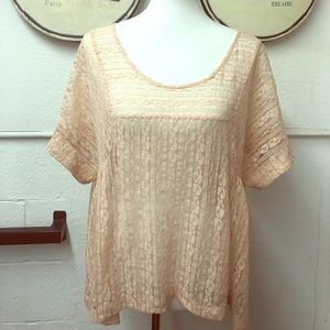 Free People lace shirt- peach- size L